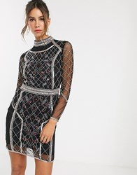 Frock And Frill Long Sleeve Beaded Detail Dress Black