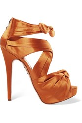 Charlotte Olympia Andrea Bow Embellished Satin Platform Sandals Orange