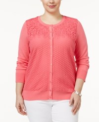 Charter Club Plus Size Mixed Lace Cardigan Only At Macy's Glamour Pink