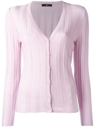 Steffen Schraut Luxury Ribbed Cardigan Pink Purple