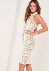 Missguided White Bandage Lace Up Detail Midi Dress