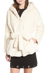 Moon River Faux Fur Hooded Jacket Cream