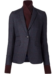 Veronica Beard Knitted Layered Fitted Blazer Blue