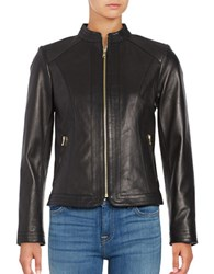 Cole Haan Trapunto Paneled Leather Jacket Black