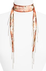 Chan Luu Women's Beaded Floral Tie Necklace Red Mix