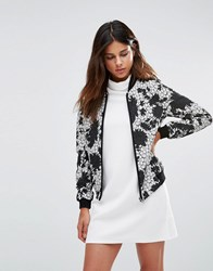 Helene Berman Zip Front Bomber Jacket In Black And White Lace Ivory Black Multi