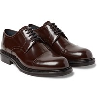 Loewe Polished Leather Cap Toe Derby Shoes Dark Brown