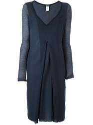 Kristensen Du Nord Long Sleeves Box Pleat Dress Blue