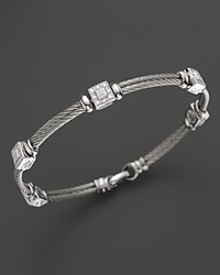 Charriol Classique Collection 18K White Gold And Stainless Steel Nautical Cable Bracelet With Diamonds