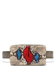 Lutz Morris Evan Snake Effect Leather Belt Bag Red Multi