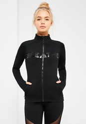Missguided Active Black Zip Up Slogan Sports Jacket