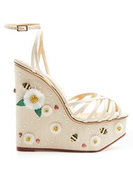 Charlotte Olympia Floral Meredith Linen Wedge Sandals Cream