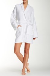 Aegean Solid Woven Waffle Terry Loop Robe White