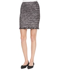 St. John Collection Sparkle Inlay Fringe Trimmed Skirt Black Pattern