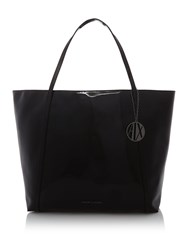 Armani Exchange Patent Large Tote Black