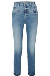 Frame Retro V Yoke High Rise Straight Leg Jeans Mid Denim