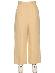 Sportmax Cropped Wide Leg Linen Pants