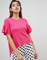Ivyrevel Open Back Frill Top Vibrant Pink
