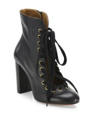 Chloe Miles Whipstitch Leather Block Heel Booties Black