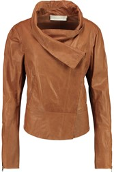 Donna Karan Stretch Jersey Paneled Leather Jacket Brown