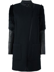 Barbara Bui Rabbit Fur Detail Coat Black