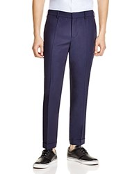 Carven Wool Linen Slim Fit Trousers Marine Force