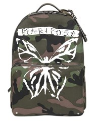 Valentino Camo Mariposa Print Canvas Backpack