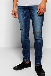 Boohoo Skinny Fit Stretch Raw Edged Cuff Jean Indigo