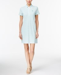 Lacoste Cotton Striped Button Back Polo Dress White Bermuda