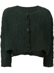 Issey Miyake Cauliflower Cropped Textured Cardigan Green