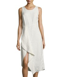 Neiman Marcus Pinstriped Scoop Neck Linen Dress White Black