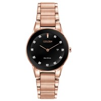 Citizen Women's Axiom Date Diamond Bracelet Strap Watch Rose Gold Black