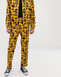 Obey Chaos Carpenter Work Pant With All Over Print In Yellow