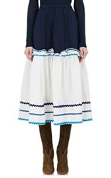 Resee Women's 1970S Cotton Peasant Skirt White Navy No Color White Navy No Color
