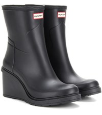 Hunter Refined Rubber Wedge Boots Black