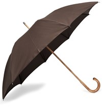 Anderson And Sheppard Cotton Twill Maple Wood Handle Umbrella Brown