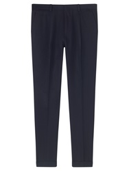 Jigsaw Virgin Wool Cotton Twill Slim Fit Suit Trousers Navy