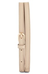 Dries Van Noten Leather Skinny Belt Beige