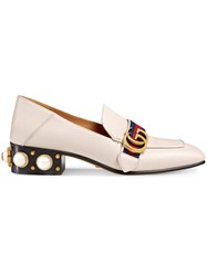 Gucci Leather Mid Heel Loafer Women Leather Nylon Metal 40 Nude Neutrals