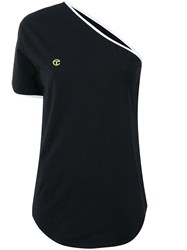 Telfar One Sleeve T Shirt Women Cotton Spandex Elastane M Black