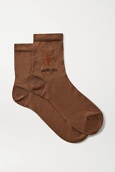 Maria La Rosa Capricorn Embroidered Silk Blend Socks Brown