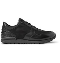 Tod's Studded Leather Shell And Mesh Sneakers Black