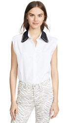 N 21 No. Contrast Collar Sleeveless Top White Black