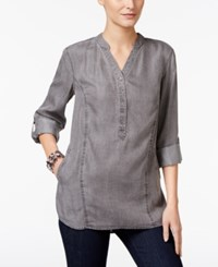 Styleandco. Style Co. Denim Roll Tab Tunic Only At Macy's Grey Wash