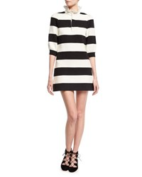Marc Jacobs Rugby Stripe Frill Collar Minidress Black White Black Pattern