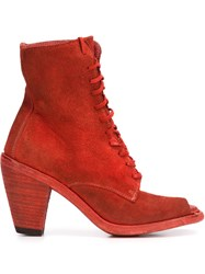 Guidi Open Toe Lace Up Ankle Boots Red
