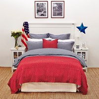 Lexington Pinpoint Duvet Cover Navy White King
