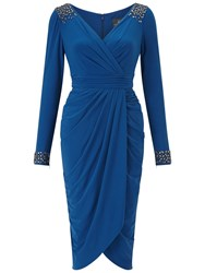 Adrianna Papell Short Tulip Skirt Wrap Dress Sapphire