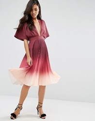 Asos Ombre Pleated Kaftan Midi Dress Burgundy Red