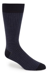 Men's John W. Nordstrom Houndstooth Cotton Blend Socks Blue Navy